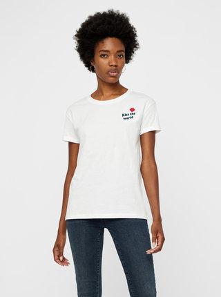 Bílé tričko s nášivkou Noisy May