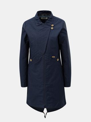 Tmavomodrý dámsky kabát s odnímateľnou vnútornou tenkou vzorovanou bundou 2v1 Maloja Sottoponte