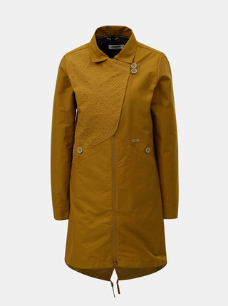Hořčicový dámský kabát s odnímatelnou lehkou bundou 2v1 Maloja Sottoponte