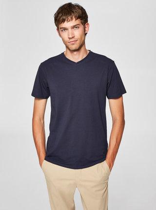 Tmavomodré basic tričko s véčkovým výstrihom Selected Homme Pima