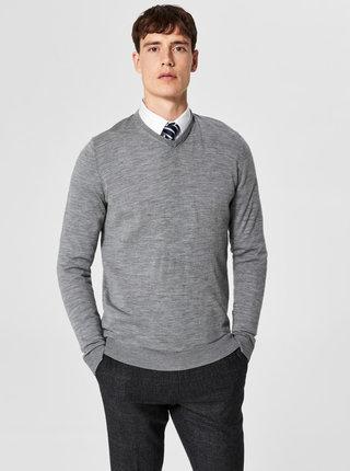 Šedý vlněný lehký basic svetr Selected Homme