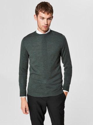 Pulover lejer verde din lana cu decolteu rotund Selected Homme