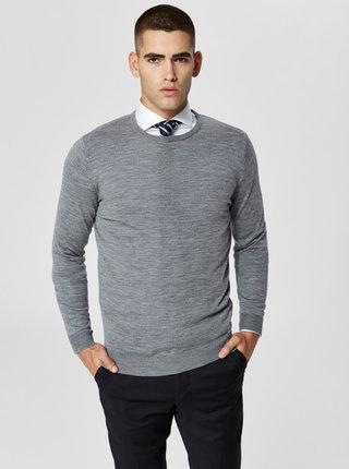 Sivý vlnený tenký sveter s okrúhlym výstrihom Selected Homme