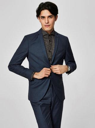 Tmavomodré vlnené oblekové sako Selected Homme Done