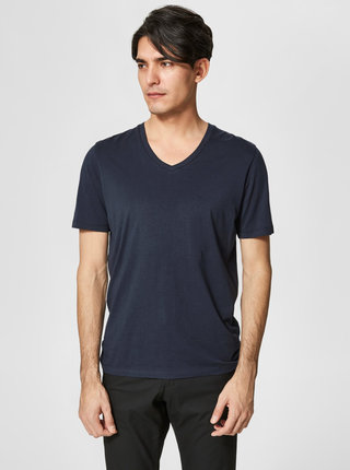 Tricou basic bleumarin din bumbac pima  Selected Homme