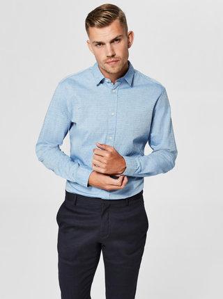 Světle modrá žíhaná slim fit košile Selected Homme Moonie