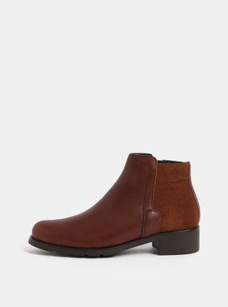 Hnedé kožené členkové topánky so semišovým detailom OJJU