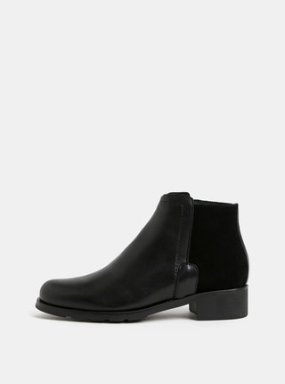 Čierne kožené členkové topánky so semišovým detailom OJJU
