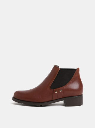 Hnědé kožené chelsea boty OJJU