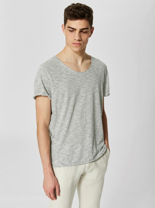 Tricou crem in dungi - Selected Homme Newmerce