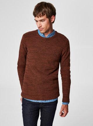 Hnědý žíhaný basic svetr s kulatým výstřihem  Selected Homme Victor