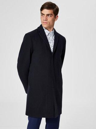 Tmavomodrý vlnený kabát Selected Homme