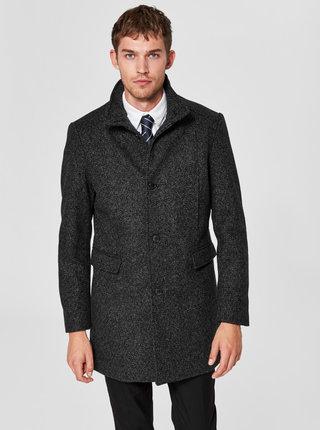 Čierny melírovaný kabát Selected Homme Mosto