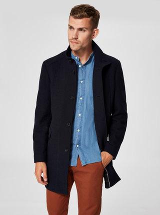 Tmavomodrý vlnený kabát Selected Homme Mosto