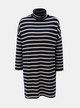Bielo–modré pruhované svetrové šaty s rolákom Dorothy Perkins