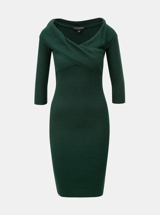 Tmavozelené rebrované puzdrové šaty s lodičkovým výstrihom Dorothy Perkins