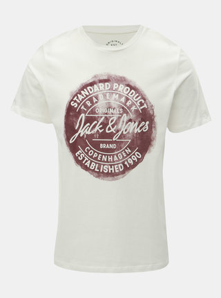 Tricou alb cu imprimeu Jack & Jones Rejistood