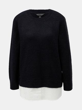 Tmavomodrý sveter so všitou košeľovou časťou Dorothy Perkins