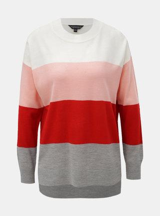 Červeno-růžový pruhovaný svetr s dlouhým rukávem Dorothy Perkins