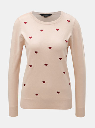 Světle růžový svetr se srdcovou výšivkou Dorothy Perkins