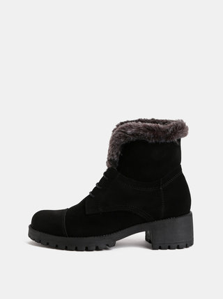 Čierne semišové členkové topánky s umelou kožušinkou OJJU
