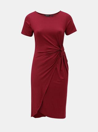 Vínové šaty s řasením na boku Dorothy Perkins Curve