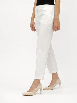 Biele skrátené ľanové nohavice s pukmi Dorothy Perkins