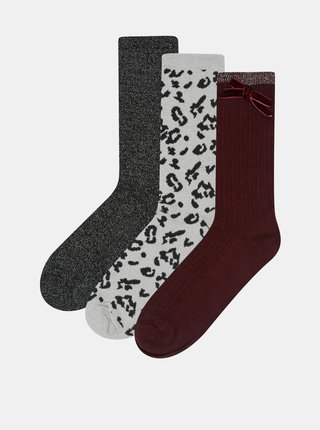 Darčekové balenie troch párov ponožiek vo fialovej, béžovej a čiernej farbe Something Special