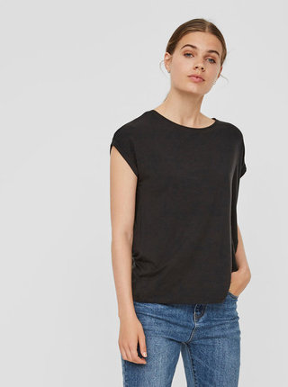 Černé basic tričko s krátkým rukávem VERO MODA AWARE Ava