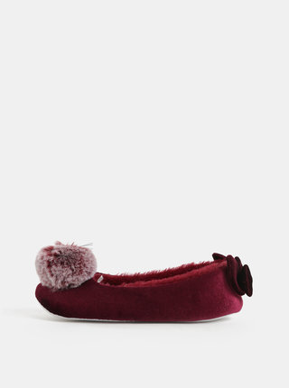 Set cadou de papuci bordo cu pom pom si funda Something Special