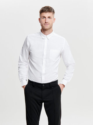 Biela slim košeľa s náprsným vreckom ONLY & SONS Alvaro
