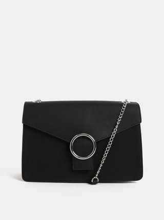 Čierna kabelka s detailmi v striebornej farbe Pieces Kaori