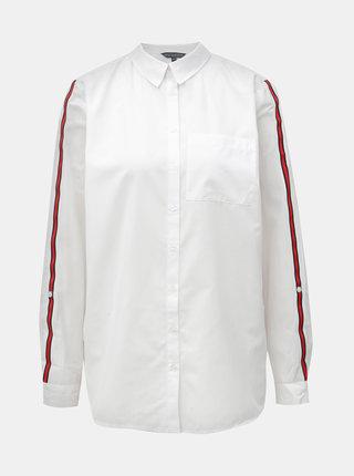 Biela košeľa s náprsným vreckom a červenými pruhmi na rukávoch Dorothy Perkins Tall