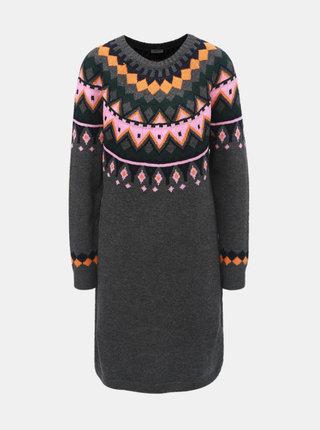 Tmavě šedé vzorované svetrové šaty Noisy May Lund