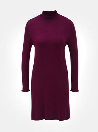 Tmavoružové svetrové šaty so stojačikom a dlhým rukávom ONLY Mila