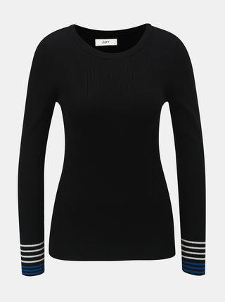 Černý žebrovaný svetr s pruhy na rukávech Jacqueline de Yong Tracy