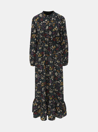 Čierne kvetované maxišaty s dlhým rukávom ONLY Rachel