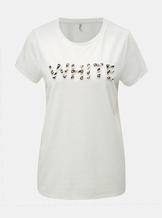 Biele tričko s korálkovou nášivkou ONLY Winnie