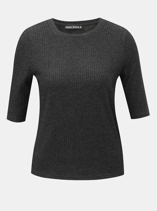 Tmavě šedé žebrované tričko TALLY WEiJL