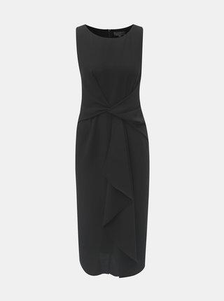 Černé pouzdrové šaty s volánem v přední části Dorothy Perkins