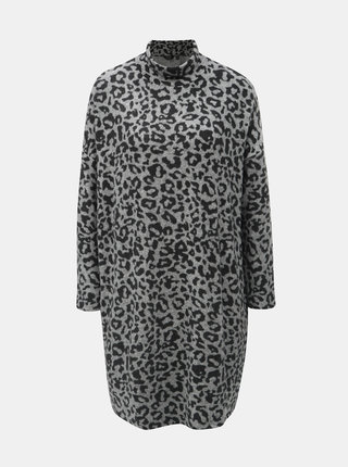 Sivé vzorované svetrové šaty s rolákom Dorothy Perkins