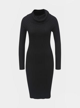 Černé pouzdrové svetrové šaty s límcem a dlouhým rukávem Noisy May Vicki