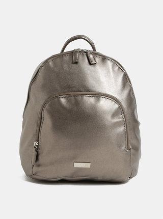 Strieborný koženkový batoh s metalickými odleskami a predným vreckom ZOOT