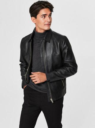 Čierna kožená bunda Selected Homme Clean