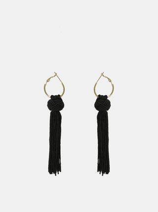 Čierne náušnice so strapcami Pieces Kassy