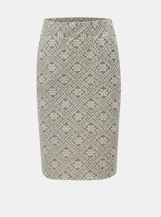 Béžová vzorovaná pouzdrová sukně SEVERANKA