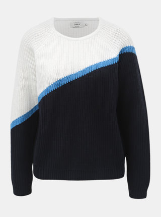 Bílo-modrý svetr s kulatým výstřihem ONLY Hilde