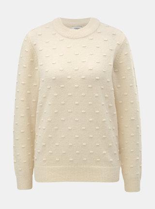 Béžový svetr s plastickým vzorem Jacqueline de Yong Dotta