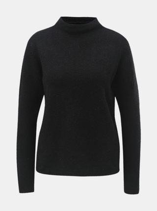 Čierny sveter so stojačikom a prímesou vlny Jacqueline de Yong Roberta