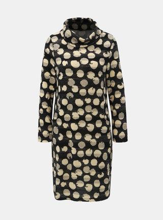 Krémovo–čierne bodkované šaty s rolákom Smashed Lemon